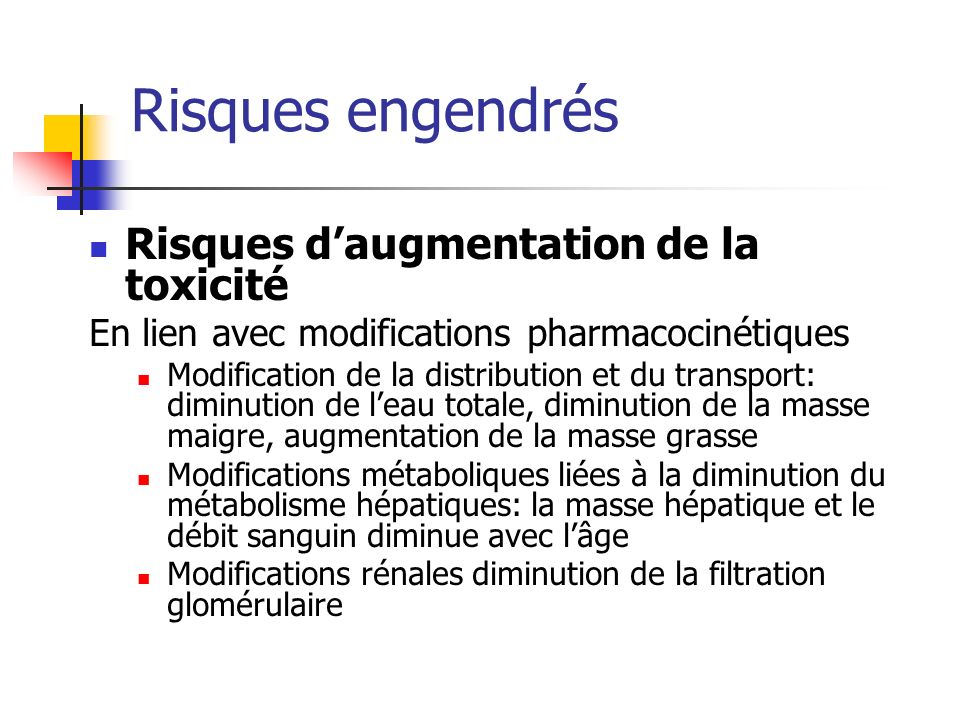 Risques engendrés Risques daugmentation de la toxicité En lien avec modifications pharmacocinétiques Modification de la distribution et du transport: