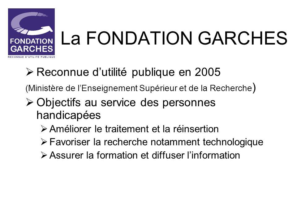 La FONDATION GARCHES Reconnue dutilité publique en 2005 (Ministère de lEnseignement Supérieur et de la Recherche ) Objectifs au service des personnes