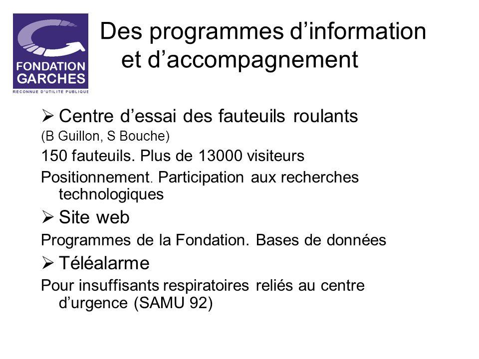 Des programmes dinformation et daccompagnement Centre dessai des fauteuils roulants (B Guillon, S Bouche) 150 fauteuils. Plus de 13000 visiteurs Posit