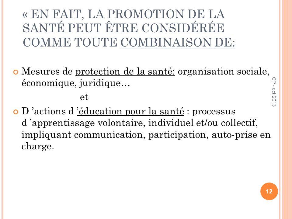 « EN FAIT, LA PROMOTION DE LA SANTÉ PEUT ÊTRE CONSIDÉRÉE COMME TOUTE COMBINAISON DE: Mesures de protection de la santé: organisation sociale, économiq