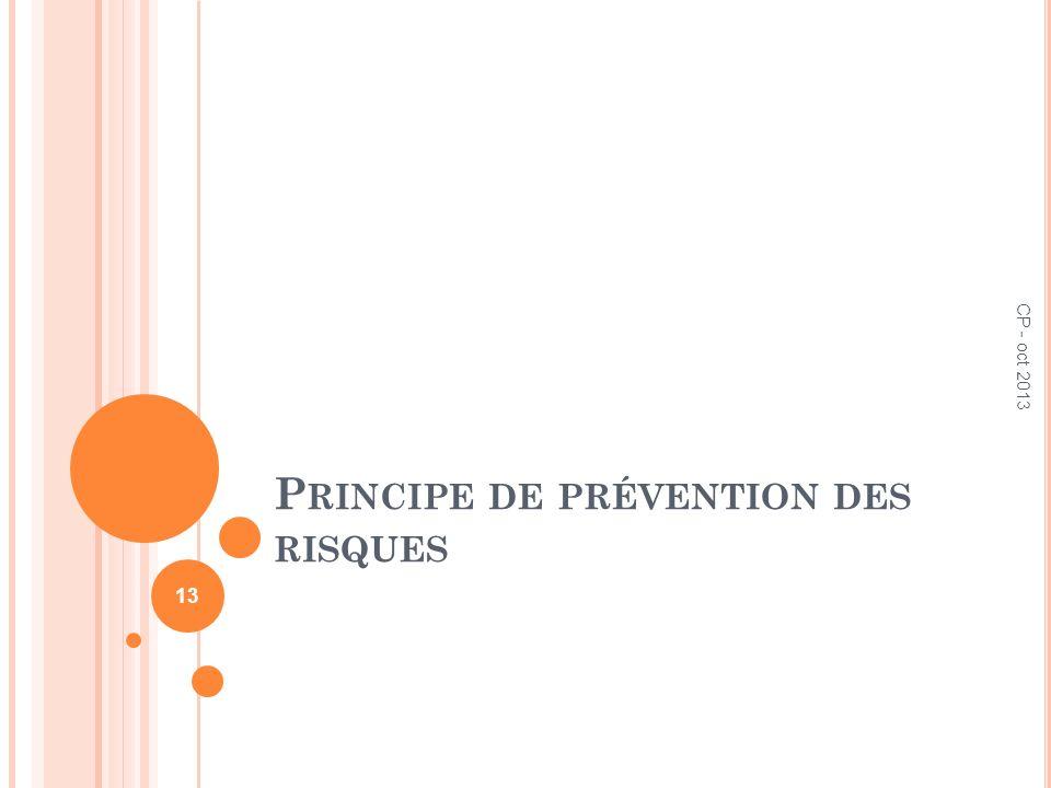 P RINCIPE DE PRÉVENTION DES RISQUES CP - oct 2013 13