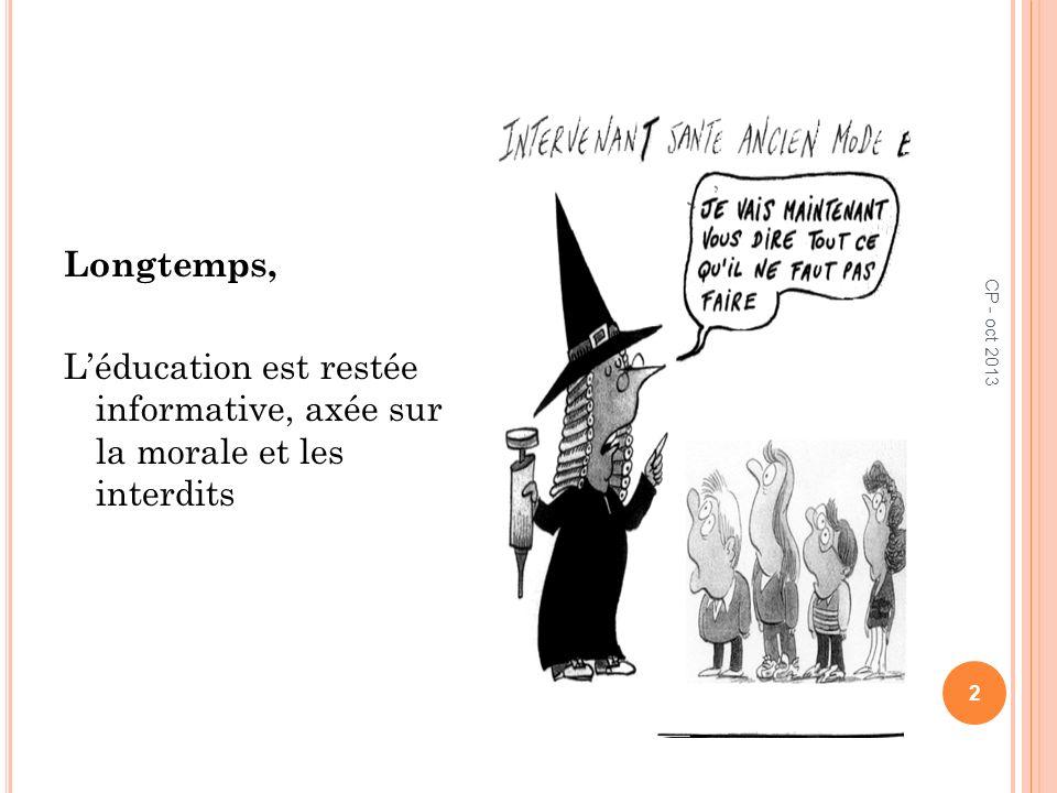 Longtemps, Léducation est restée informative, axée sur la morale et les interdits 2 CP - oct 2013