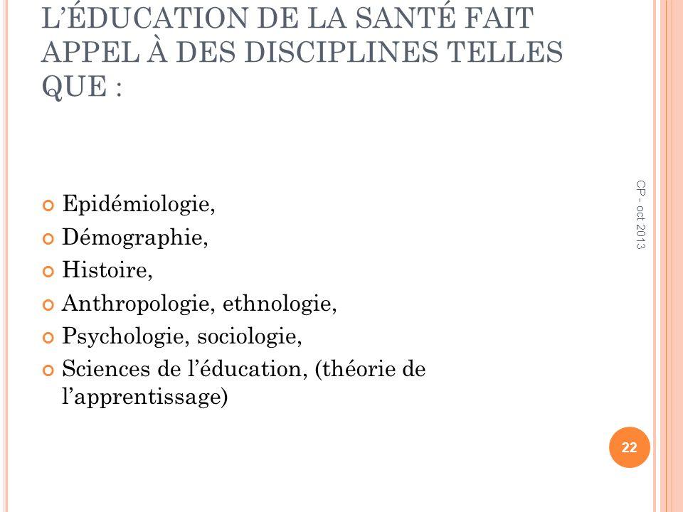 LÉDUCATION DE LA SANTÉ FAIT APPEL À DES DISCIPLINES TELLES QUE : Epidémiologie, Démographie, Histoire, Anthropologie, ethnologie, Psychologie, sociolo