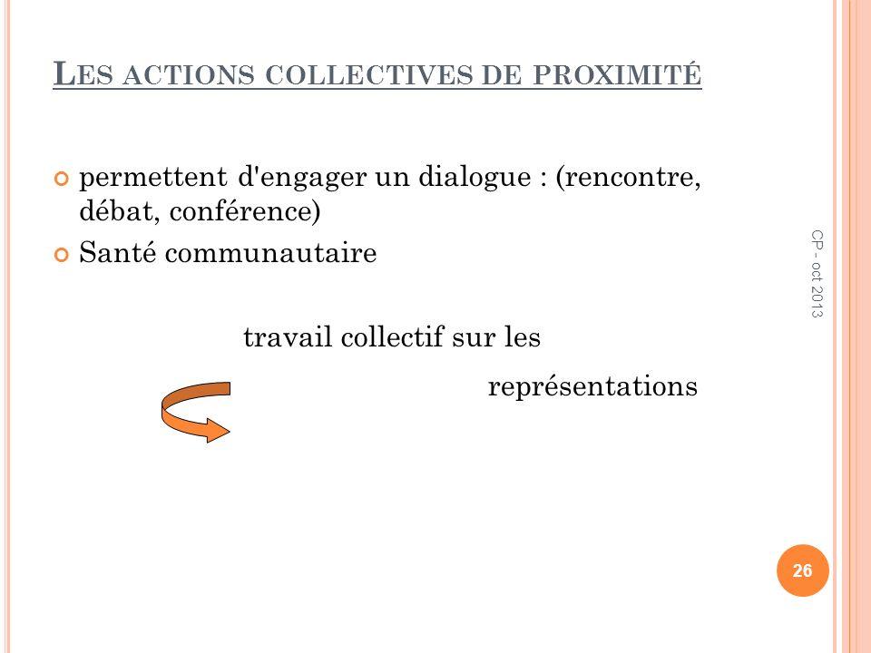 L ES ACTIONS COLLECTIVES DE PROXIMITÉ permettent d'engager un dialogue : (rencontre, débat, conférence) Santé communautaire travail collectif sur les