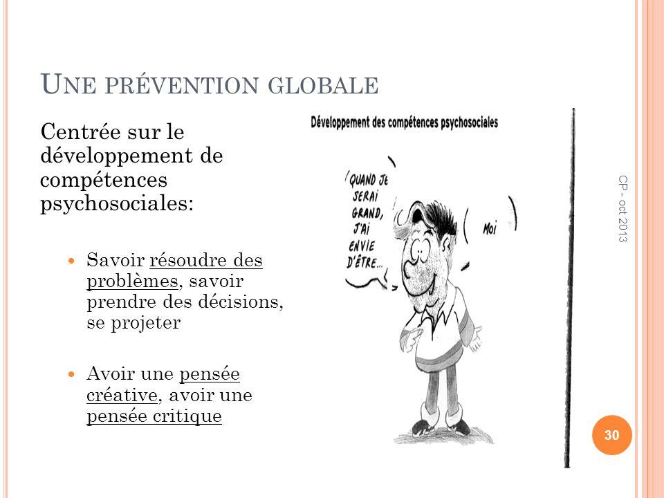 U NE PRÉVENTION GLOBALE Centrée sur le développement de compétences psychosociales: Savoir résoudre des problèmes, savoir prendre des décisions, se pr