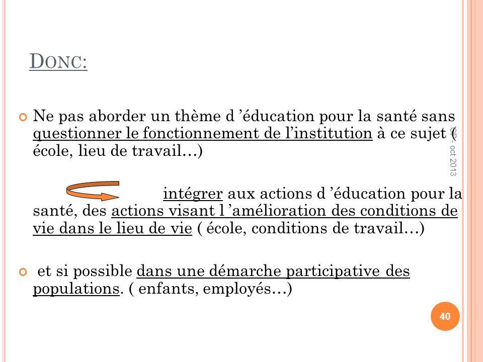 D ONC : Ne pas aborder un thème d éducation pour la santé sans questionner le fonctionnement de linstitution à ce sujet ( école, lieu de travail…) int