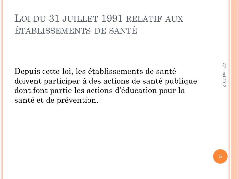 L OI DU 31 JUILLET 1991 RELATIF AUX ÉTABLISSEMENTS DE SANTÉ Depuis cette loi, les établissements de santé doivent participer à des actions de santé pu