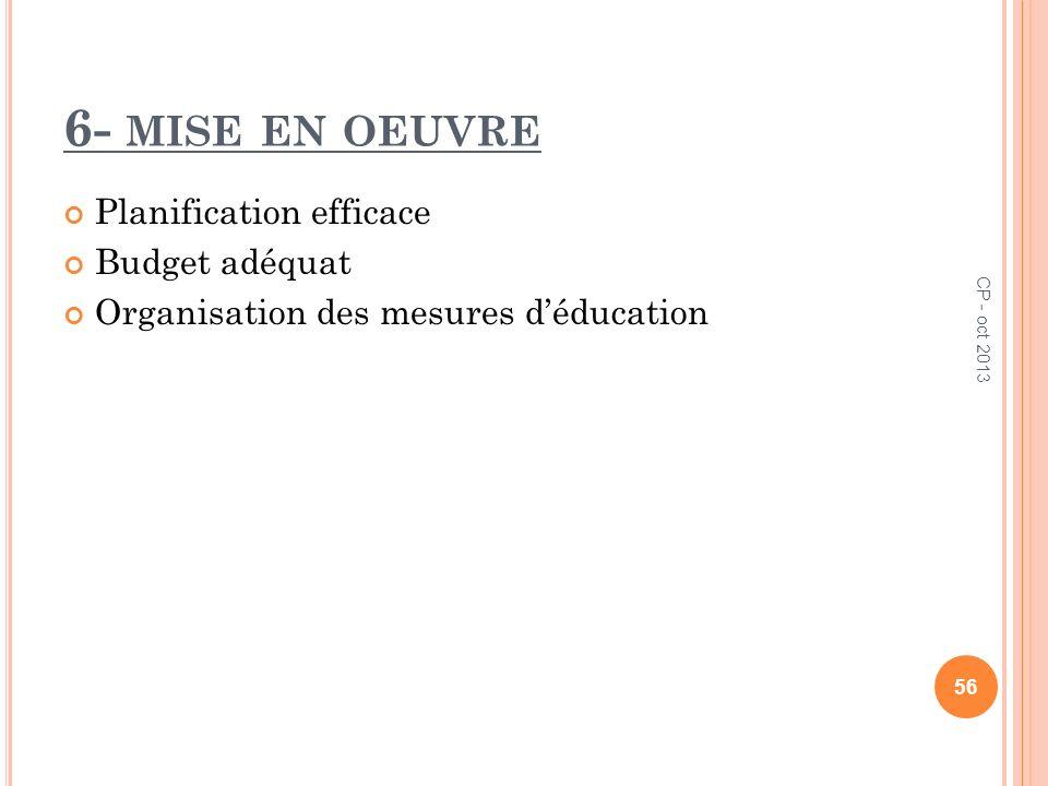 6- MISE EN OEUVRE Planification efficace Budget adéquat Organisation des mesures déducation 56 CP - oct 2013