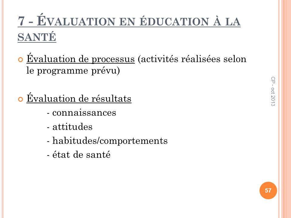 7 - É VALUATION EN ÉDUCATION À LA SANTÉ Évaluation de processus (activités réalisées selon le programme prévu) Évaluation de résultats - connaissances