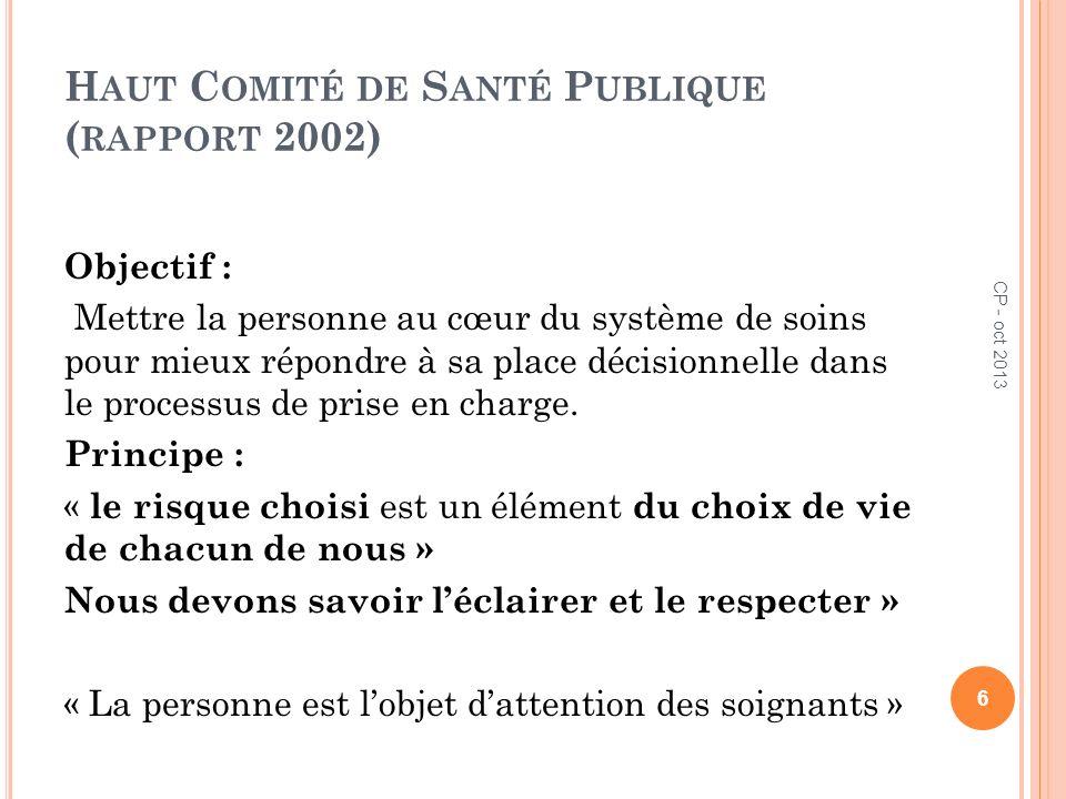 T EXTES PROFESSIONNELS Décret du 29 juillet 2004 relatif aux parties IV et V du code de santé publique relatif à la profession dinfirmier ou dinfirmière 7 CP - oct 2013