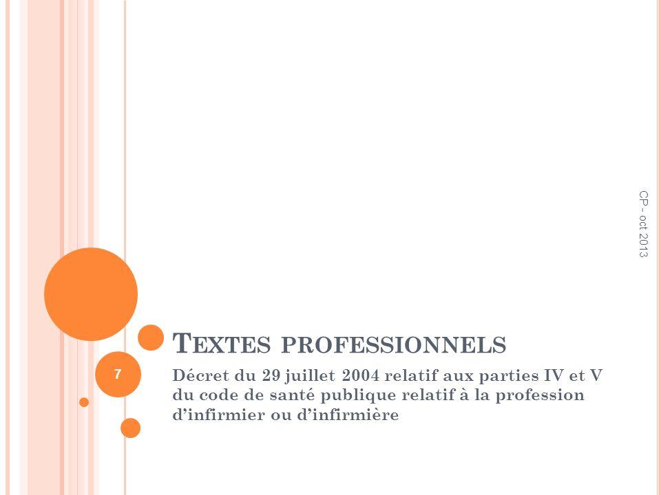 T EXTES PROFESSIONNELS Décret du 29 juillet 2004 relatif aux parties IV et V du code de santé publique relatif à la profession dinfirmier ou dinfirmiè