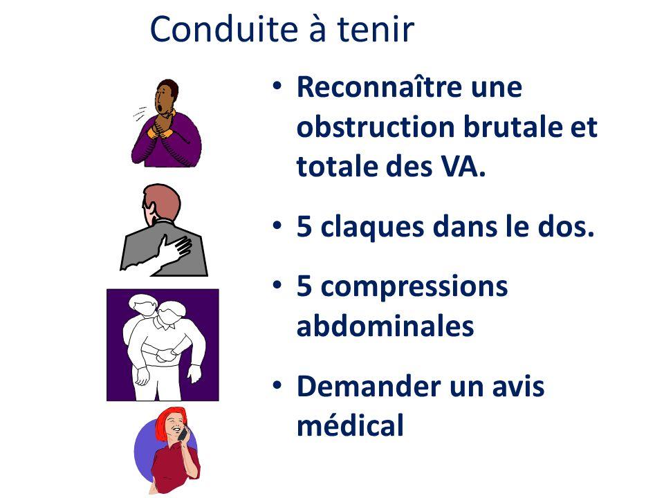 Conduite à tenir Reconnaître une obstruction brutale et totale des VA. 5 claques dans le dos. 5 compressions abdominales Demander un avis médical