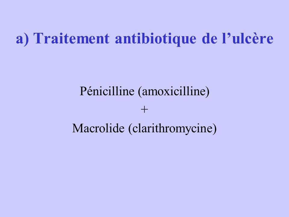 a) Traitement antibiotique de lulcère Pénicilline (amoxicilline) + Macrolide (clarithromycine)