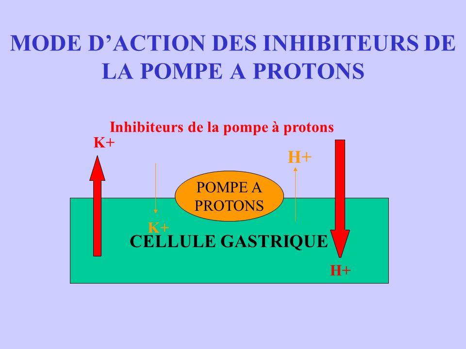 MODE DACTION DES INHIBITEURS DE LA POMPE A PROTONS CELLULE GASTRIQUE POMPE A PROTONS H+ K+ H+ K+ Inhibiteurs de la pompe à protons