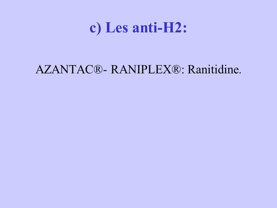 c) Les anti-H2: AZANTAC®- RANIPLEX®: Ranitidine.