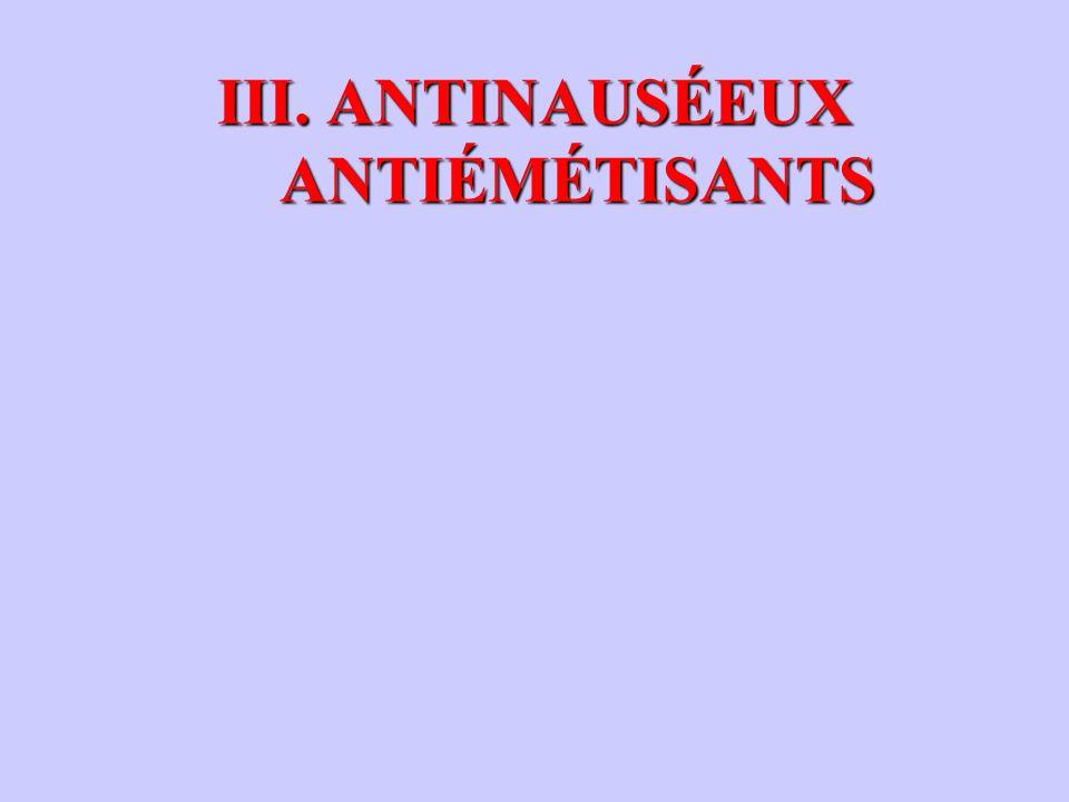 III. ANTINAUSÉEUX ANTIÉMÉTISANTS III. ANTINAUSÉEUX ANTIÉMÉTISANTS