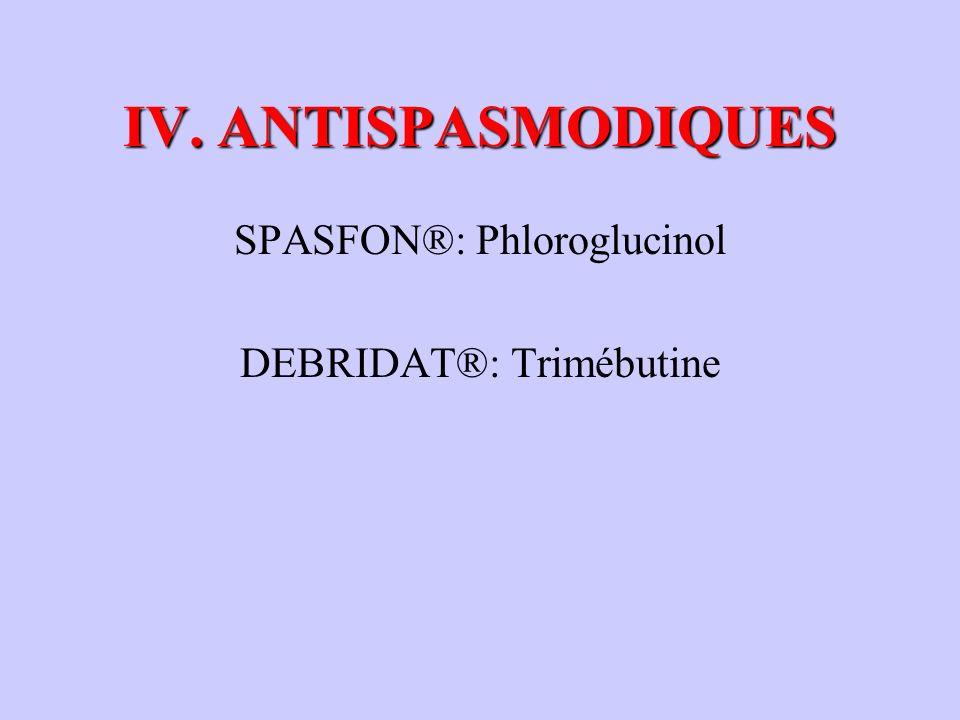 IV. ANTISPASMODIQUES SPASFON®: Phloroglucinol DEBRIDAT®: Trimébutine