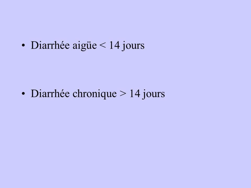 Diarrhée aigüe < 14 jours Diarrhée chronique > 14 jours