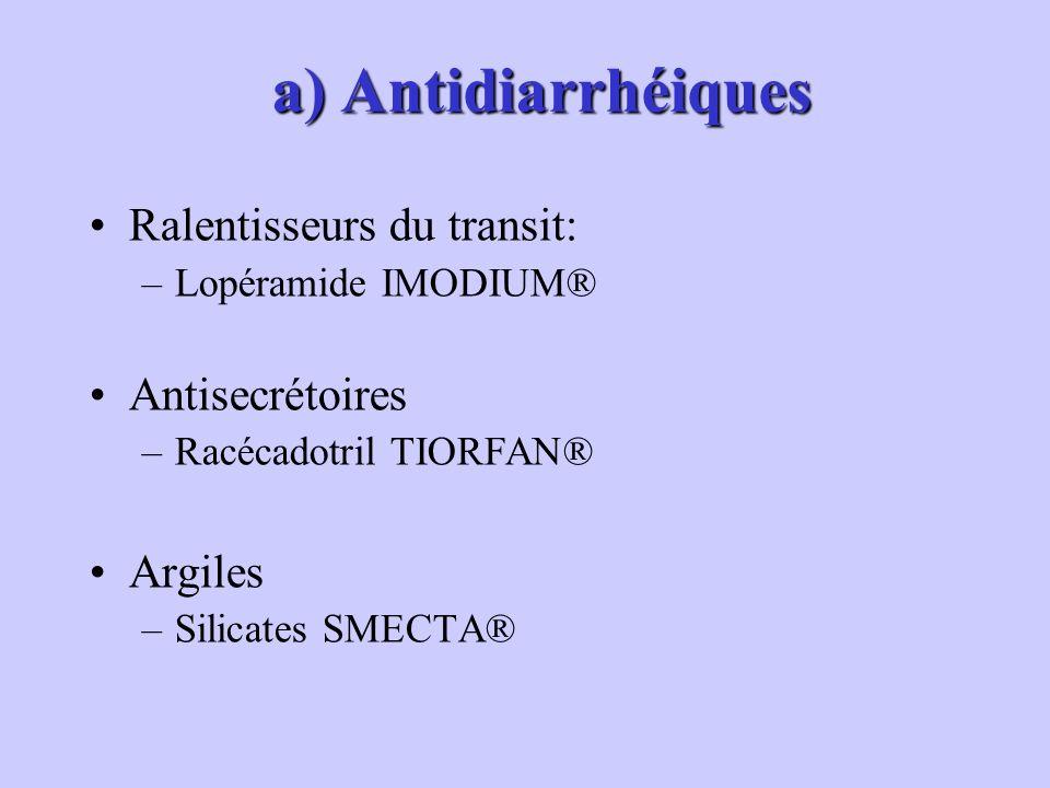 a) Antidiarrhéiques a) Antidiarrhéiques Ralentisseurs du transit: –Lopéramide IMODIUM® Antisecrétoires –Racécadotril TIORFAN® Argiles –Silicates SMECTA®