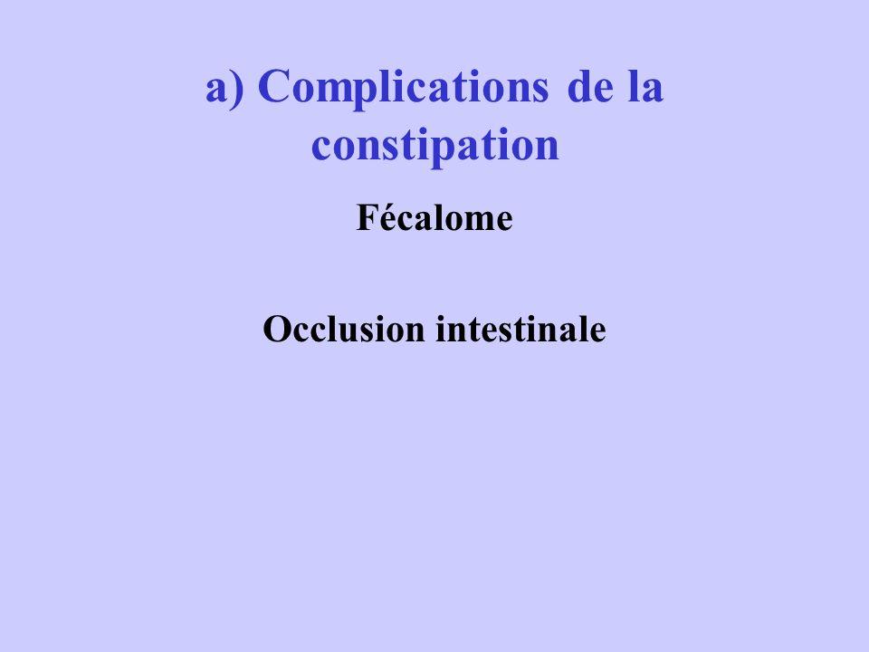 a) Complications de la constipation Fécalome Occlusion intestinale