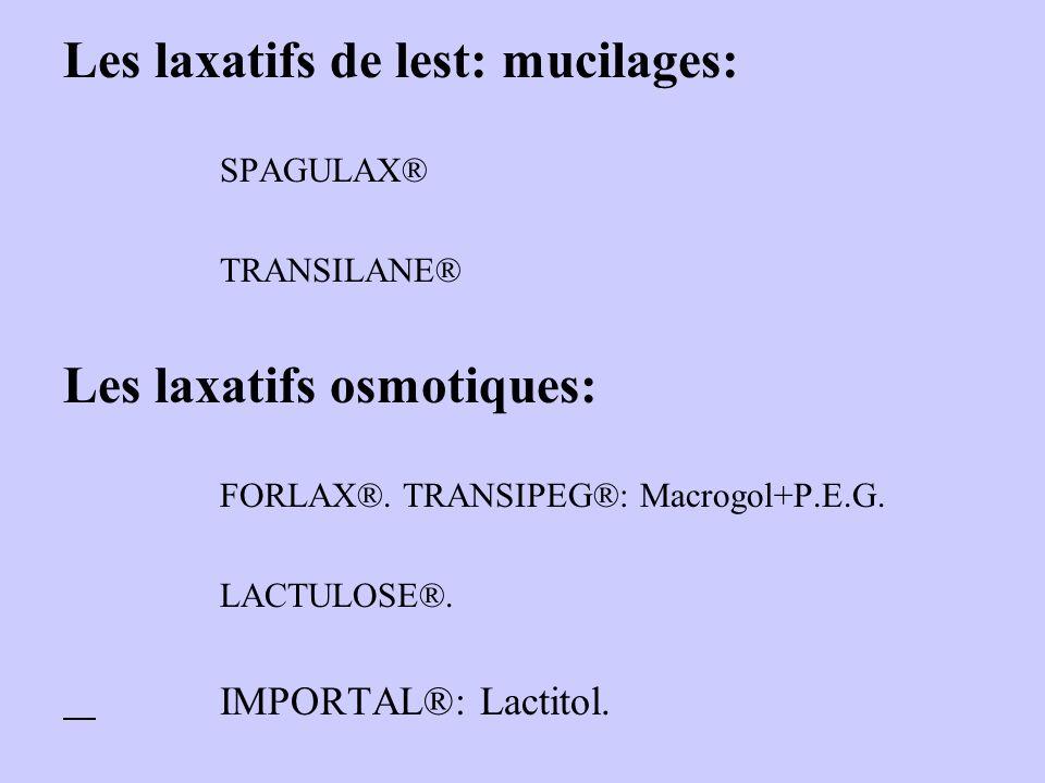 Les laxatifs de lest: mucilages: SPAGULAX® TRANSILANE® Les laxatifs osmotiques: FORLAX®. TRANSIPEG®: Macrogol+P.E.G. LACTULOSE®. IMPORTAL®: Lactitol.