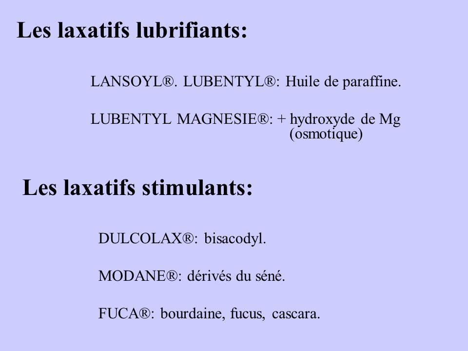 Les laxatifs lubrifiants: LANSOYL®. LUBENTYL®: Huile de paraffine. LUBENTYL MAGNESIE®: + hydroxyde de Mg (osmotique) Les laxatifs stimulants: DULCOLAX