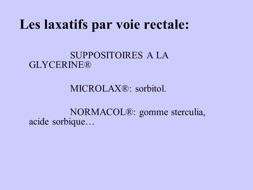 Les laxatifs par voie rectale: SUPPOSITOIRES A LA GLYCERINE® MICROLAX®: sorbitol. NORMACOL®: gomme sterculia, acide sorbique…