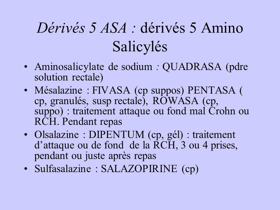 Dérivés 5 ASA : dérivés 5 Amino Salicylés Aminosalicylate de sodium : QUADRASA (pdre solution rectale) Mésalazine : FIVASA (cp suppos) PENTASA ( cp, granulés, susp rectale), ROWASA (cp, suppo) : traitement attaque ou fond mal Crohn ou RCH.