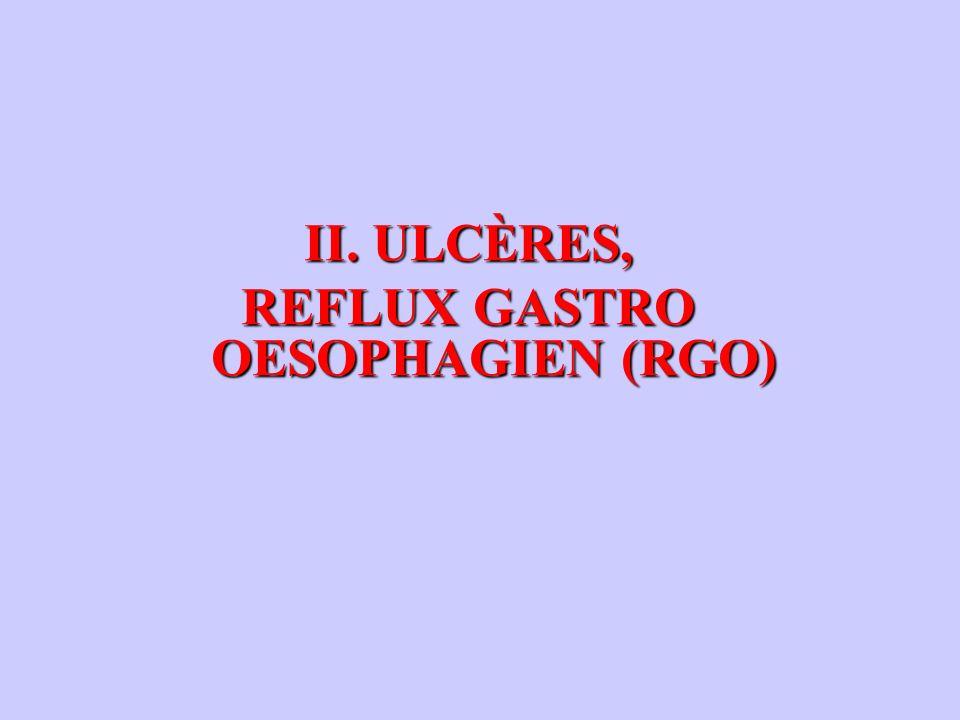 II. ULCÈRES, REFLUX GASTRO OESOPHAGIEN (RGO) REFLUX GASTRO OESOPHAGIEN (RGO)