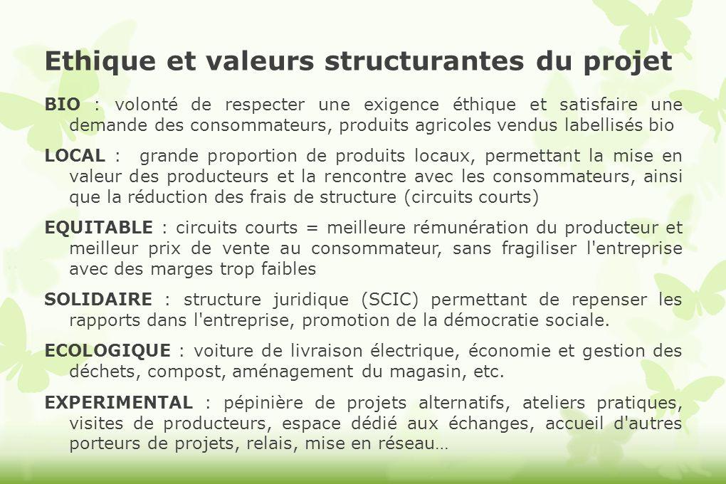 Ethique et valeurs structurantes du projet BIO : volonté de respecter une exigence éthique et satisfaire une demande des consommateurs, produits agric