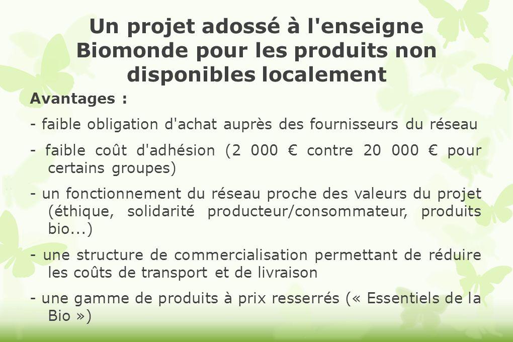 Un projet adossé à l'enseigne Biomonde pour les produits non disponibles localement Avantages : - faible obligation d'achat auprès des fournisseurs du