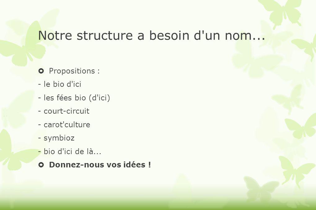 Notre structure a besoin d'un nom... Propositions : - le bio d'ici - les fées bio (d'ici) - court-circuit - carot'culture - symbioz - bio d'ici de là.
