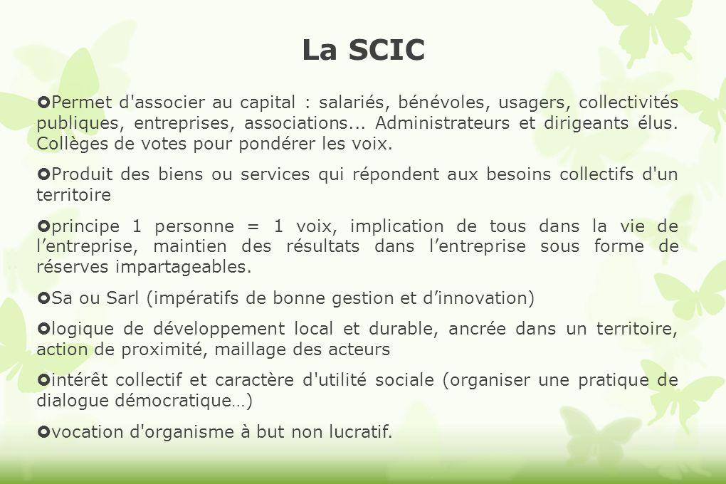 La SCIC Permet d'associer au capital : salariés, bénévoles, usagers, collectivités publiques, entreprises, associations... Administrateurs et dirigean