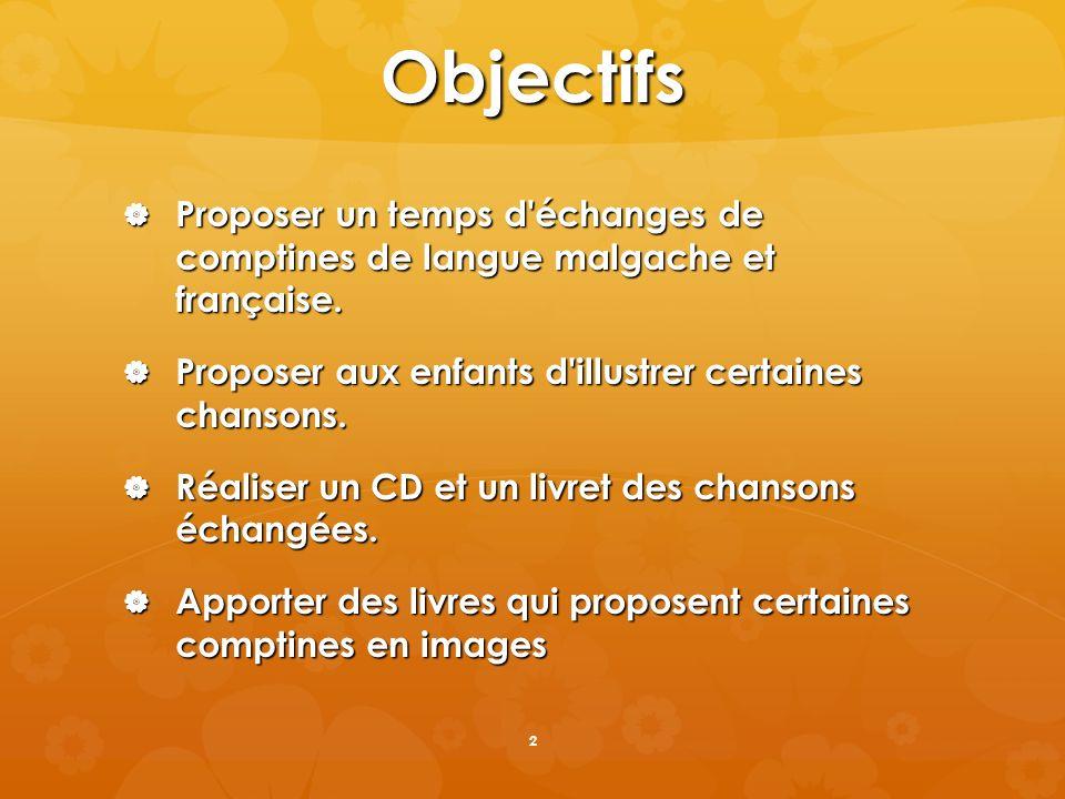 Objectifs Proposer un temps d'échanges de comptines de langue malgache et française. Proposer un temps d'échanges de comptines de langue malgache et f