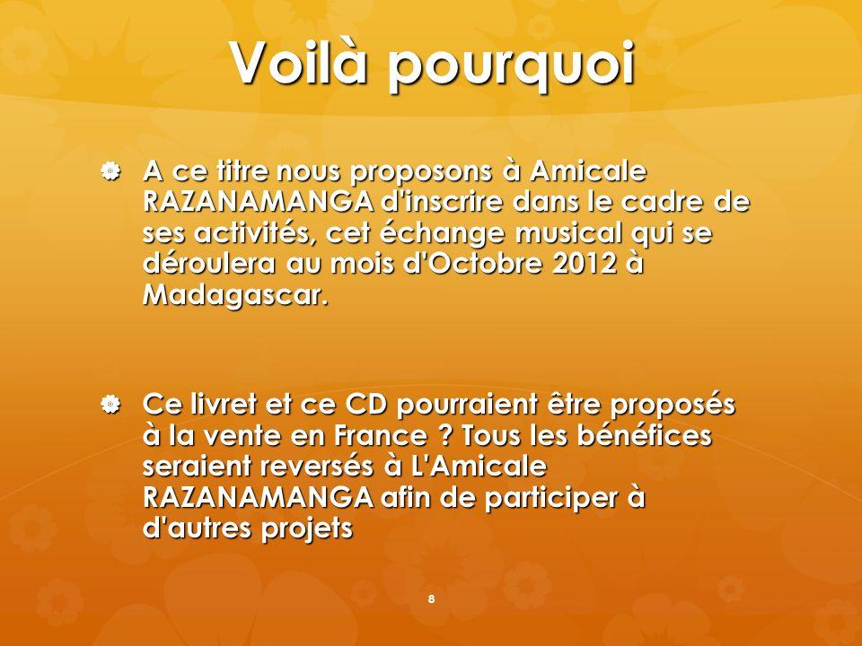 Voilà pourquoi A ce titre nous proposons à Amicale RAZANAMANGA d'inscrire dans le cadre de ses activités, cet échange musical qui se déroulera au mois
