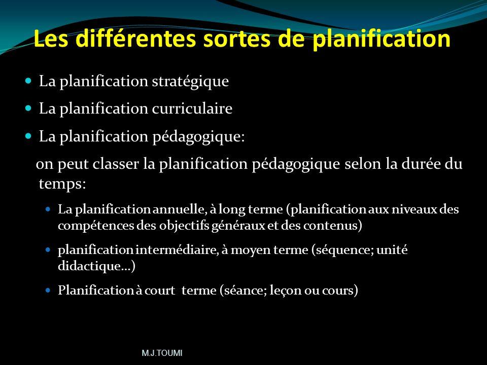 Les conditions dune planification efficace Souple et régulable (modifiable) Réaliste et applicable Définit les meilleures stratégies et les mesures le