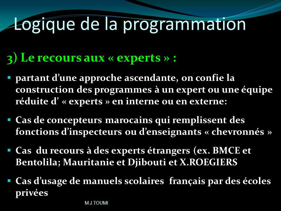 Logique de la programmation 2-Prédominance de la logique disciplinaire: les changements se limitent souvent au niveau du dispositif pédagogique dune o