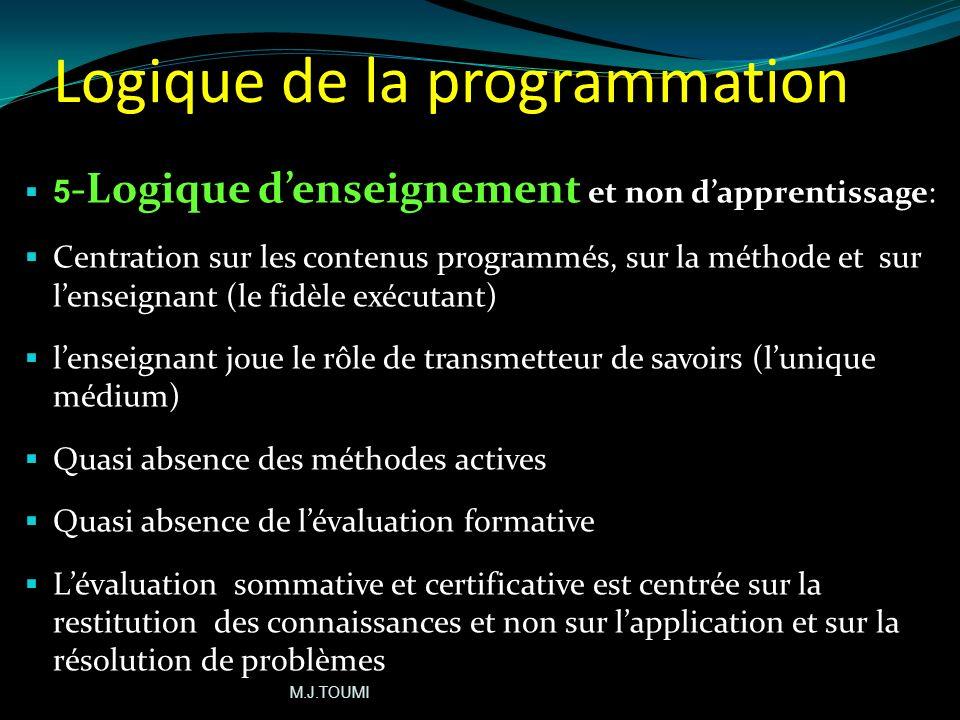 Logique de la programmation 4) Logique des contenus: Accent mis sur lencyclopédisme (logique de la quantité) Focalisation sur lélaboration dune liste