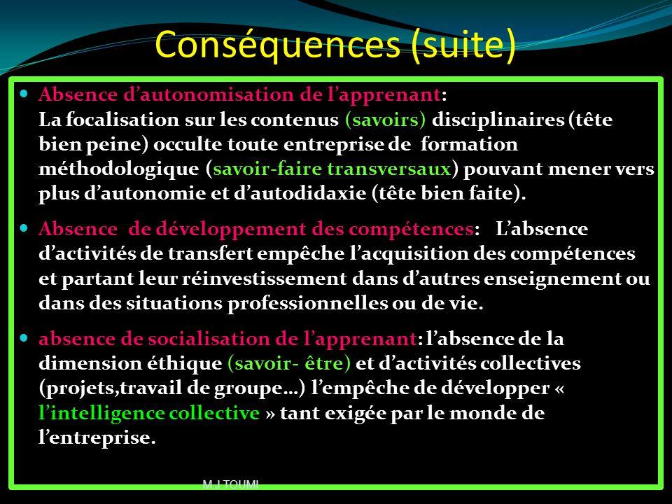 Problème dintégration des enseignements: La juxtaposition des programmes disciplinaires (voir la planification taylorienne) ne permet pas la création