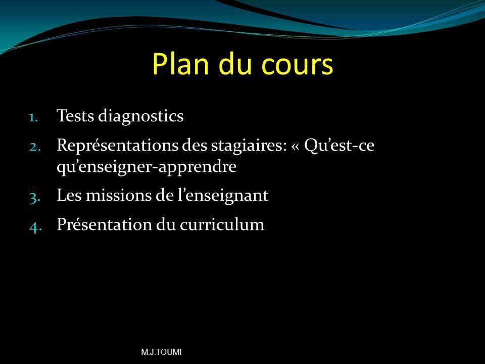 Plan du cours 1.Tests diagnostics 2.
