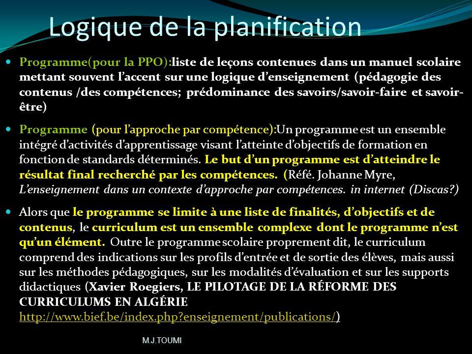 La Logique de la planification: Du programme au curriculum M.J.TOUMI