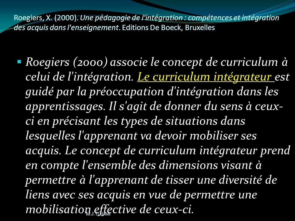 ( Miled, M. (2006), Un cadre conceptuel pour lélaboration dun curriculum selon lapproche par les compétences. http://www.bief.be/enseignement/publicat