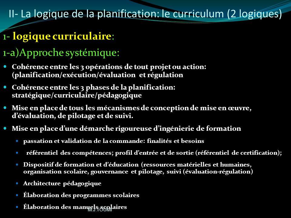 II- La logique de la planification: le curriculum A- Finalité: pour une planification rigoureuse, rationnelle, globale et systémique B- Les moyens: in