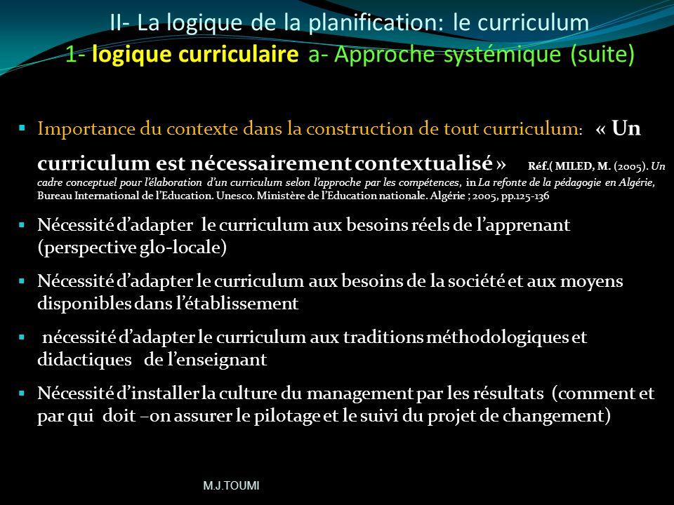 II- La logique de la planification: le curriculum (2 logiques) 1- logique curriculaire: 1-a)Approche systémique: Cohérence entre les 3 opérations de t