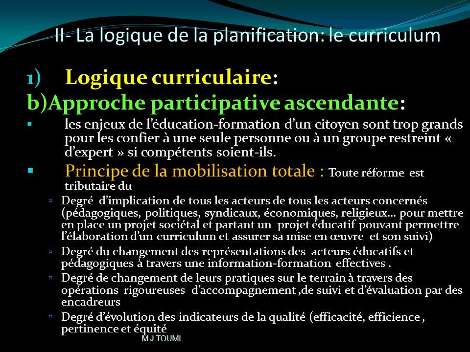II- La logique de la planification: le curriculum 1- logique curriculaire a- Approche systémique (suite) Importance du contexte dans la construction d