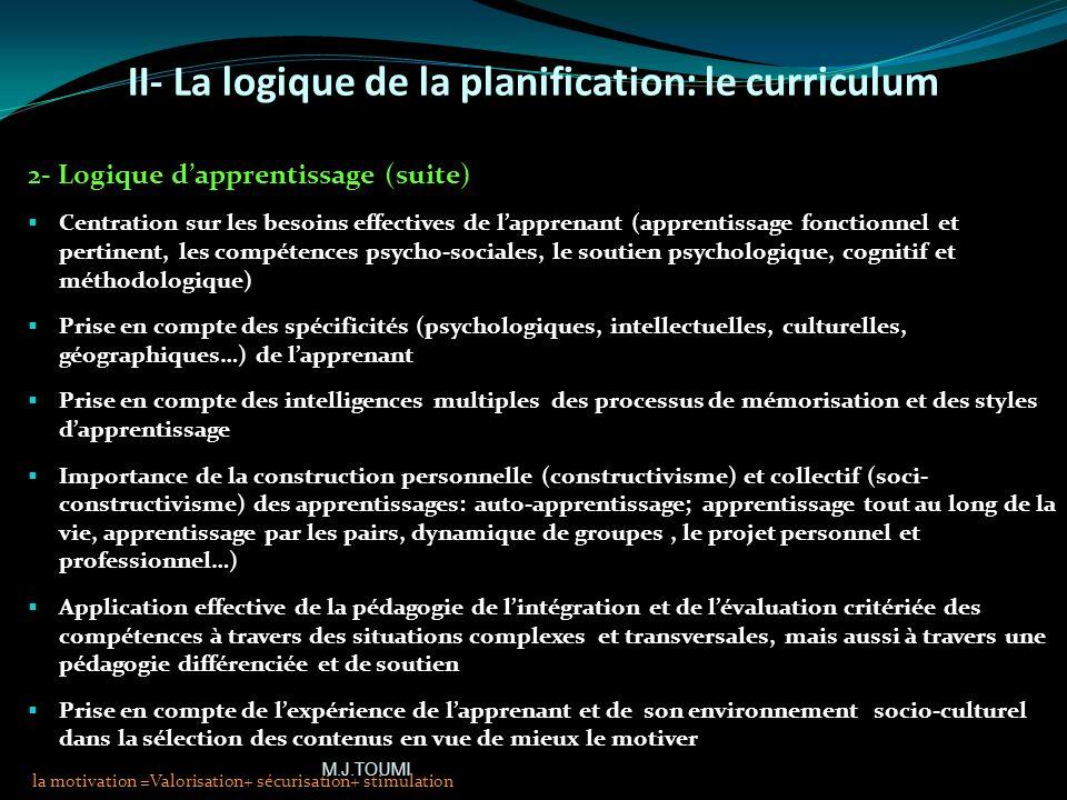 II- La logique de la planification: le curriculum 2- Logique dapprentissage Historiquement, le concept trouve sa source dans linfluence de différents