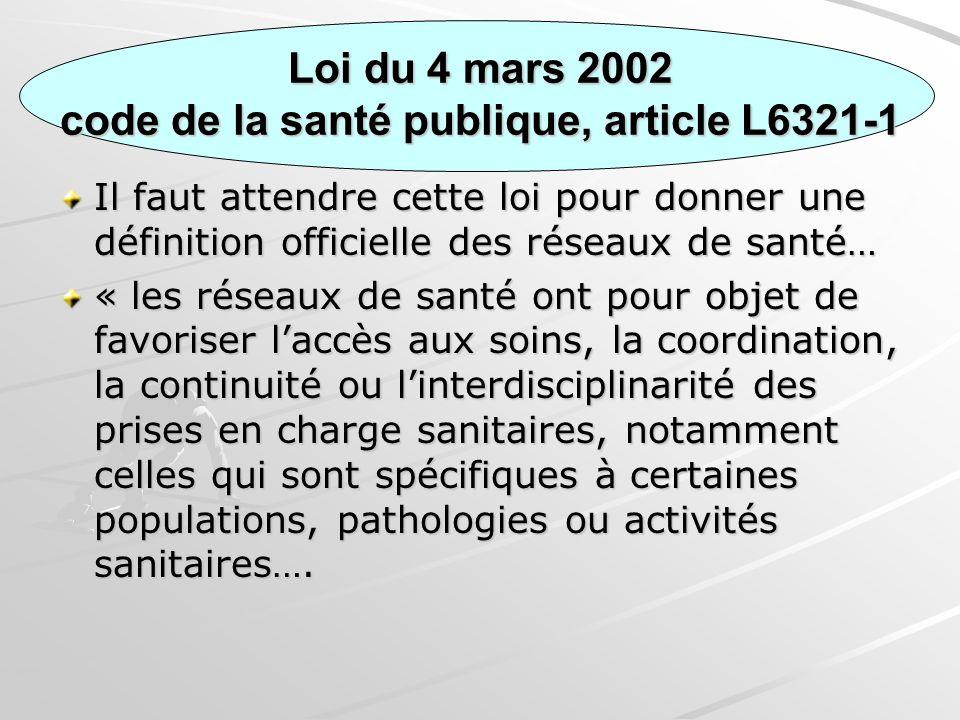 Loi du 4 mars 2002 code de la santé publique, article L6321-1 Il faut attendre cette loi pour donner une définition officielle des réseaux de santé… «