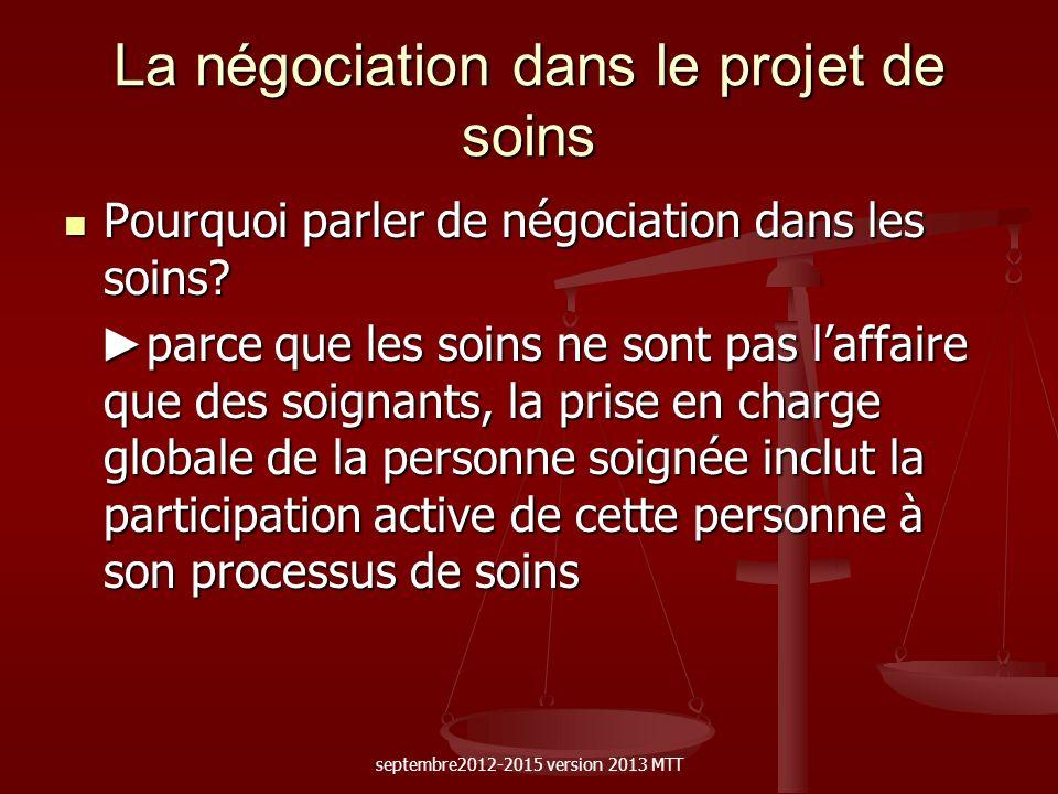 La négociation dans le projet de soins Pourquoi parler de négociation dans les soins? Pourquoi parler de négociation dans les soins? parce que les soi