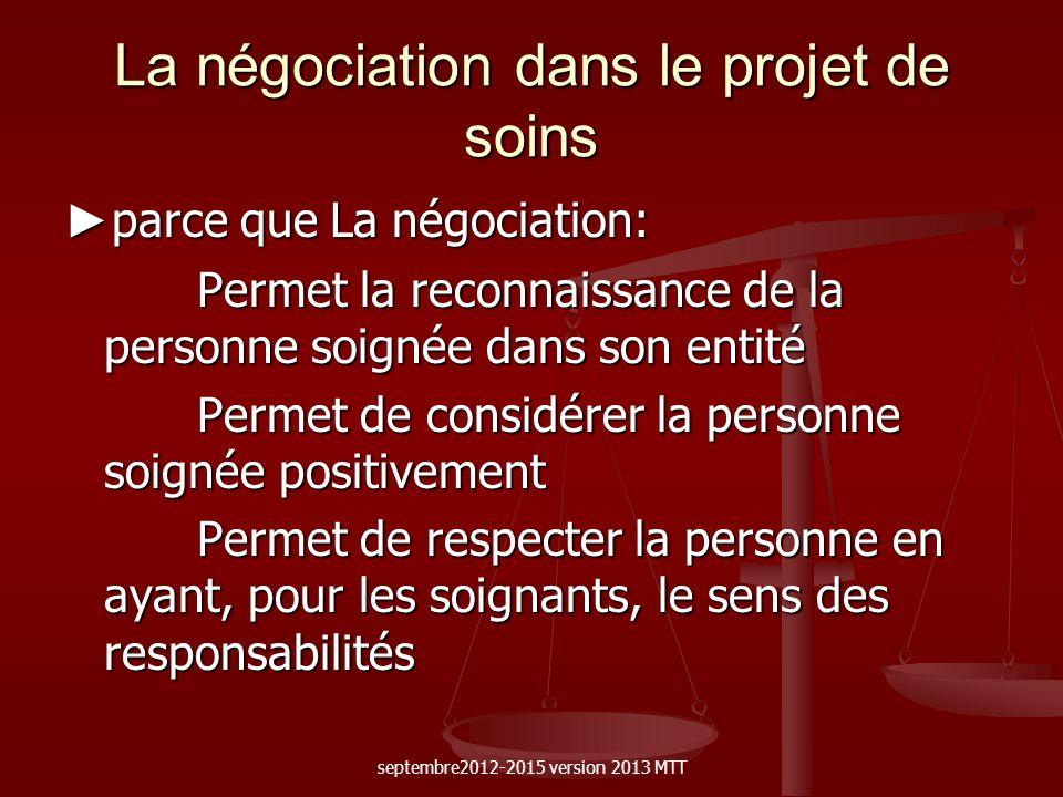 La négociation dans le projet de soins parce que La négociation: parce que La négociation: Permet la reconnaissance de la personne soignée dans son en