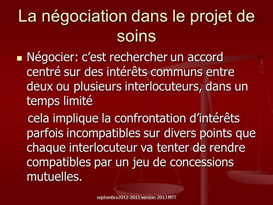 La négociation dans le projet de soins Négocier: cest rechercher un accord centré sur des intérêts communs entre deux ou plusieurs interlocuteurs, dan
